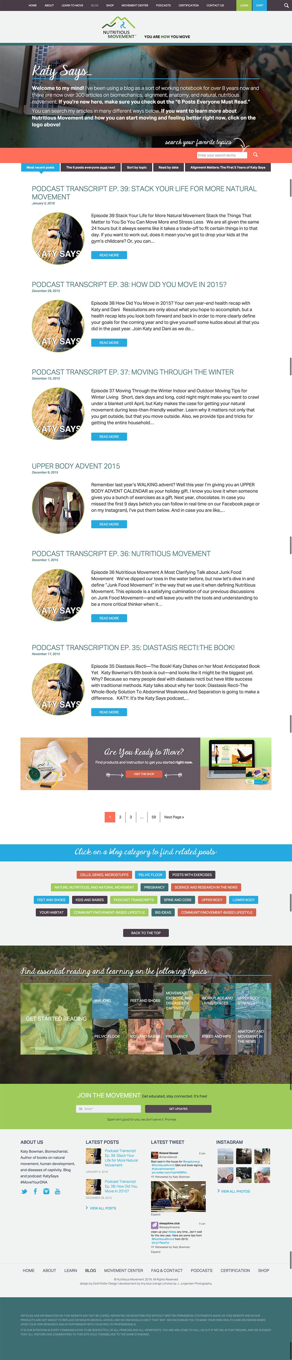 Nutritious Movement WordPress web development // tiny blue orange