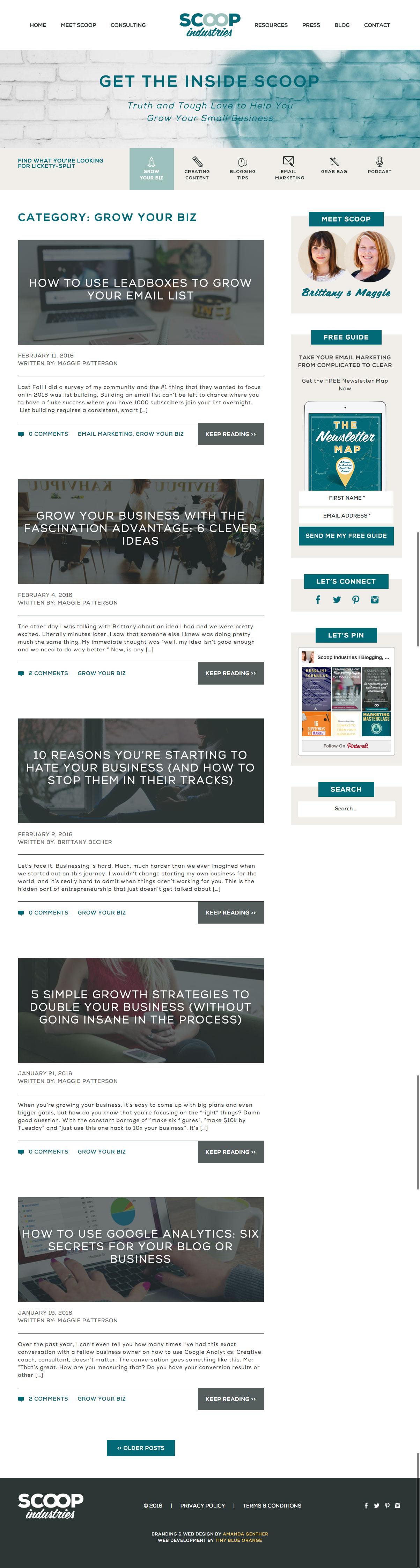 Scoop Industries WordPress web development // tiny blue orange