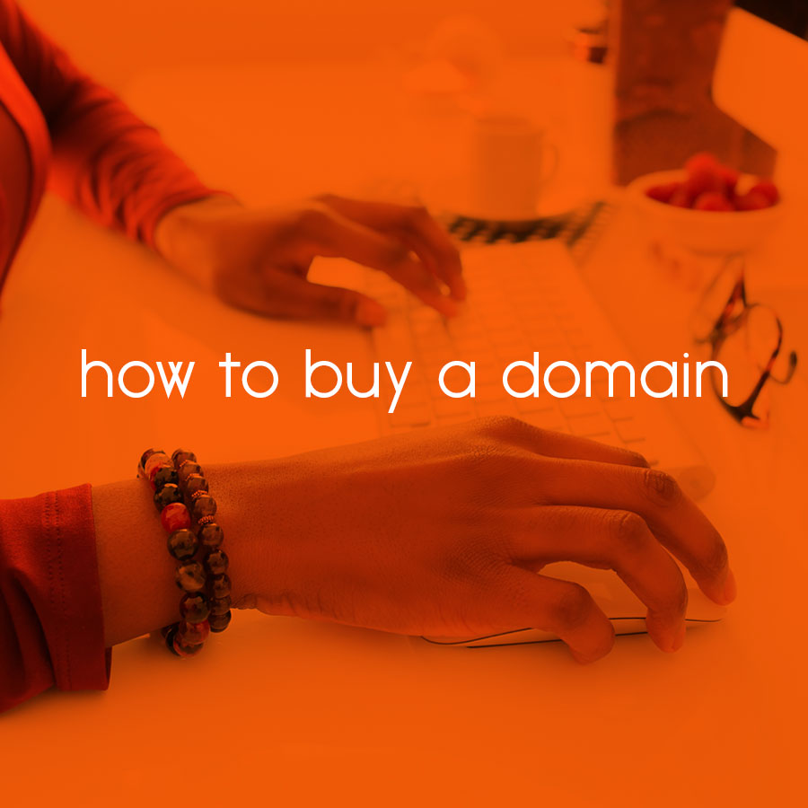 how to buy a domain // tiny blue orange
