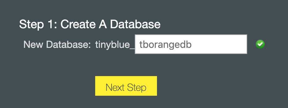 The first step in creating a database is to name it // prep for WordPress // tiny blue orange